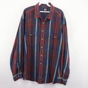 90s Docers Mens 2XL Plaid Button Front Shirt Blue